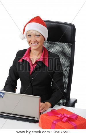 Beautiful Young Woman In Christmas Hat