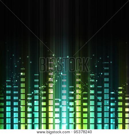 Shiny musical volume on black background.