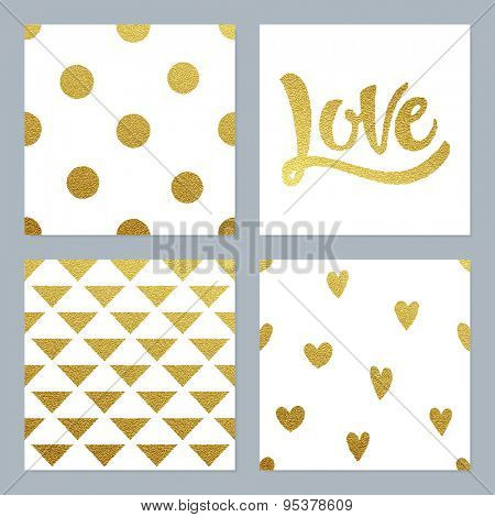 Gold glitter patterns set with dots, hearts, triangles and hand written Love lettering.