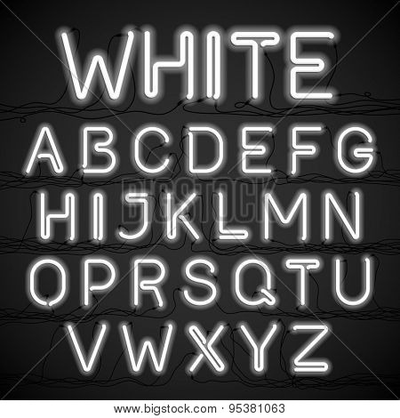 White neon light alphabet with cable. Vector.