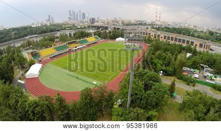 RUSSIA, MOSCOW - JUN 7, 2014: Aerial view of the sports complex Luzhniki. Photo with noise from action camera