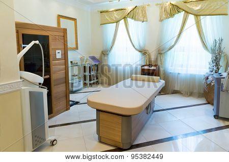 Novi Petrivtsi, Ukraine - May 27, 2015 Mezhigirya residence of ex-president of Ukraine Yanukovich. Luxurious spa room for massage