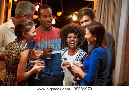 Group of adult friends drinking at a house party