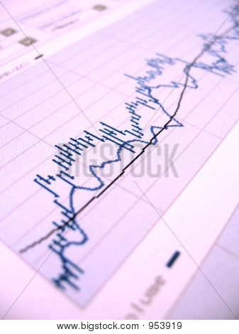 stock market chart for investor analysis. very shallow dof focused in the center. poster