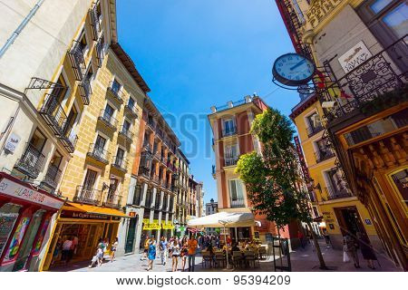 MADRID - JUNE,18: Tourists visit famous place Calle Postas on June 18, 2015 in Madrid
