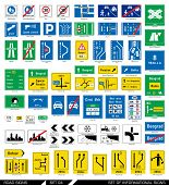 Set of road signs. Signboards. Collection of mandatory traffic signs. Vector illustration.  poster