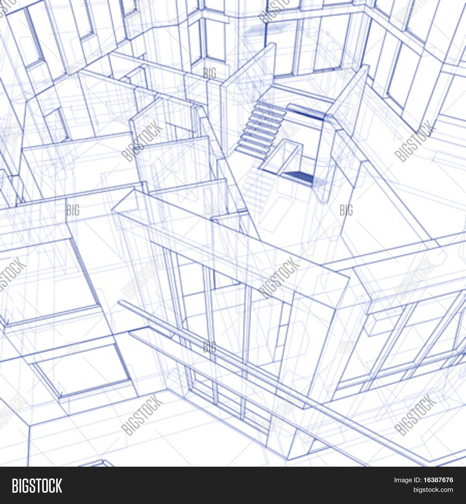 3d blueprint house vector vector photo bigstock 3d blueprint house vector technical draw malvernweather Choice Image