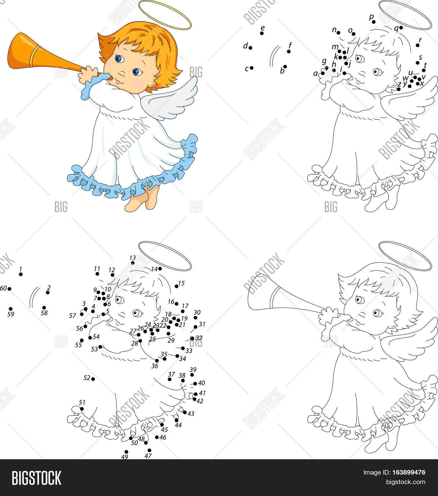 Christmas Angel With A Trumpet Coloring Book And Dot To Game For Kids