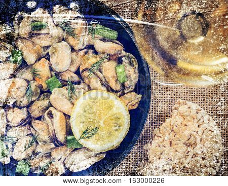 Mussels and vegetables cooked in a rustic style.Photos in a grunge style.