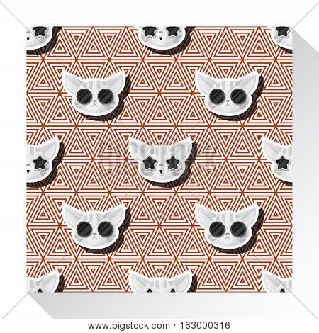 Animal seamless pattern collection with cat , vector , illustration