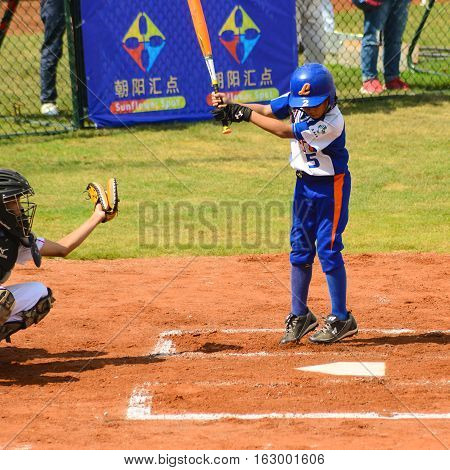 ZHONGSHAN GUANGDONGChina - October 27:unknown batter just dodged a foul ball in a baseball game on October 27 2016.