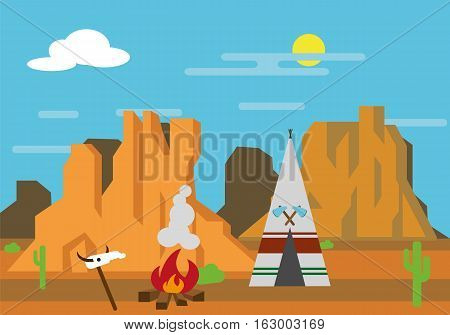 Vector illustration of wigwam on the wild west
