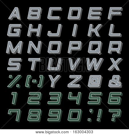 Alphabet Set 3D abc punctuation marks isolated