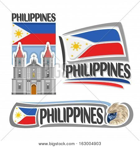 Vector logo Philippines, 3 isolated images: vertical banner molo church in iloilo on filipino national state flag, symbol of philippines head of philippine eagle, minimalistic pilipinas ensign flags.