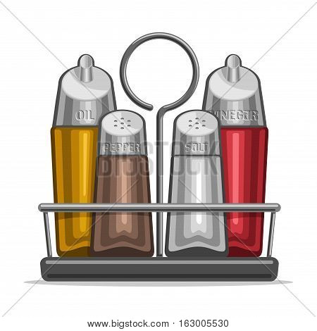 Vector illustration Set glass Shakers for salt and pepper, metal holder bottles olive oil and red wine vinegar, high tech decor set containers for condiments, chrome modern tray of shaker with stamp.