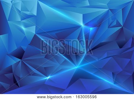 Blue abstract triangles geometric and crystal concept background