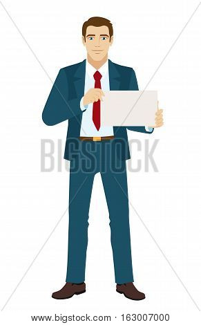 Businessman holding a paper. Full length portrait of businessman in a flat style. Vector illustration.