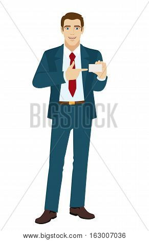 Businessman pointing on business card. Vector illustration.