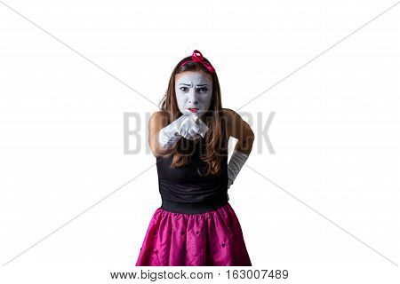 female angry mime isolated on white background