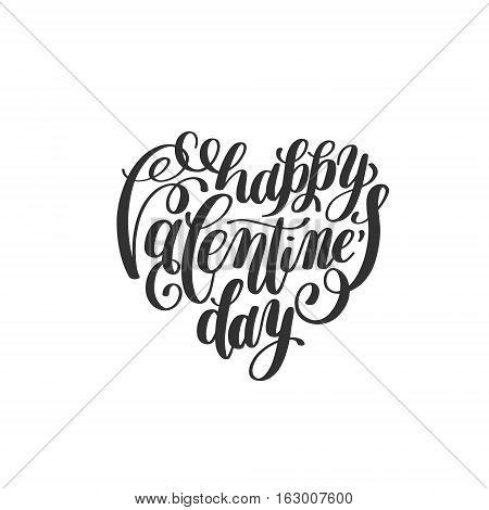 happy valentines day handwritten lettering holiday design on heart shape to greeting card, poster, congratulate, calligraphy text vector illustration