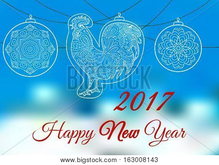 Cock. Ornament on a blue and white backgrounds. Symbol 2017. Rooster 2017. Oriental pattern. Christmas balls. Holiday card banner