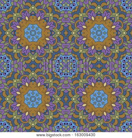 Mandala Eastern pattern. Zentangl seamless ornament. Blue mustard and green colors