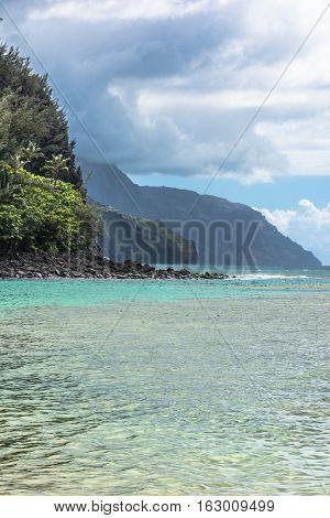 View of the coast along Kee Beach at the North of Kauai, Hawaii poster