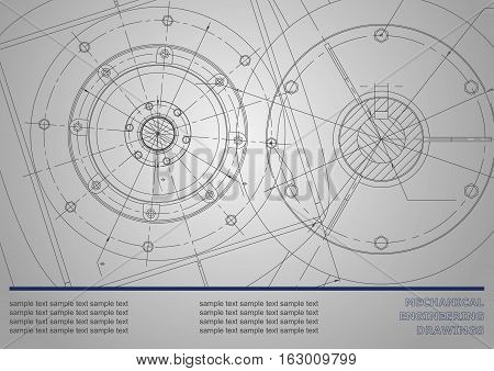 Vector Mechanical engineering drawings on a dark gray background. Cover Background for inscription labels. Corporate Identity