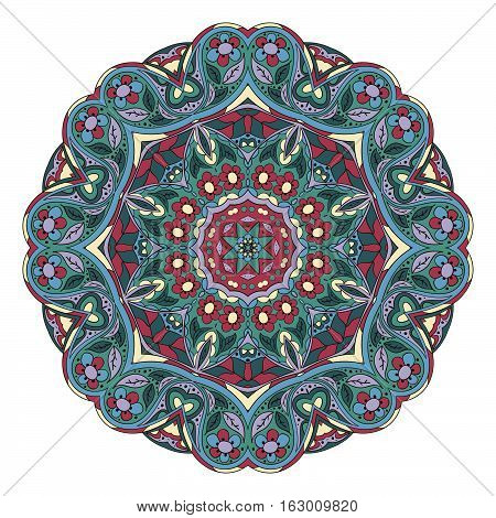 Mandala pattern. Round ornament for your creativity. Zentangl doodle pattern. Blue tone