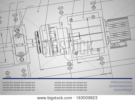 Mechanical engineering drawings on a gray background. Vector. Background for inscription labels. Corporate Identity. Gray