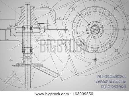 Mechanical engineering drawings. Vector background. Corporate Identity. Gray