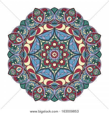 Mandala pattern. Round ornament for your creativity. Blue tone