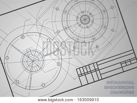 Mechanical engineering drawings. Vector background for inscription. Frame. Corporate Identity
