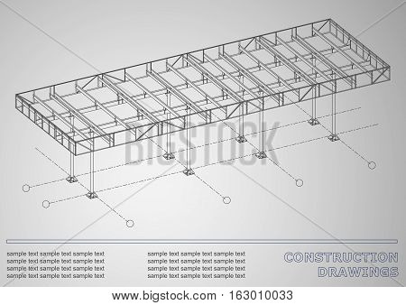 Construction drawings. 3D metal construction. Cover gray background for inscriptions. Corporate Identity