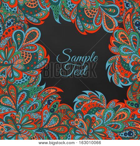 floral ethnic background red black and marine colors