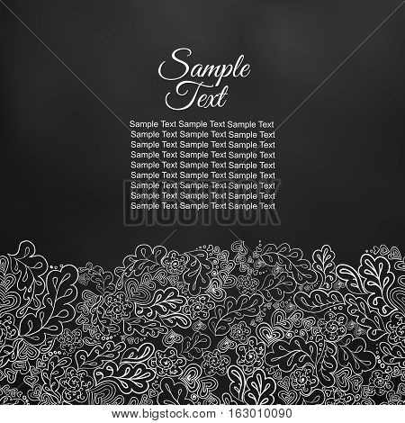 Floral doodle card in black and white tones