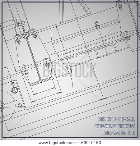 Mechanical engineering drawings. Engineering. Vector background. Corporate Identity. Gray