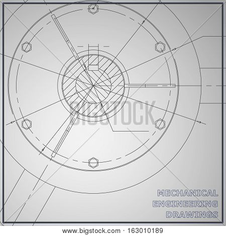 Mechanical engineering drawings. Engineering illustration. Vector gray background. Corporate Identity