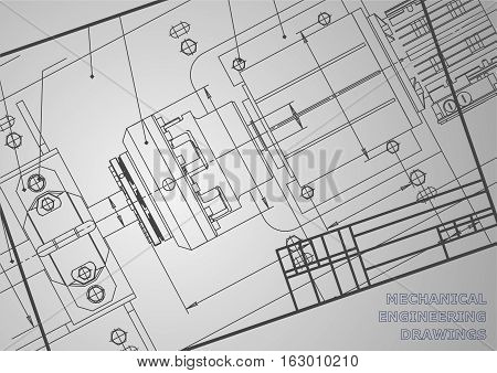 Mechanical engineering drawings on a gray background. Vector. Background for inscription labels. Frame. Corporate Identity