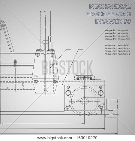 Black Mechanical engineering drawings on a gray background. Vector. For inscriptions. Corporate Identity