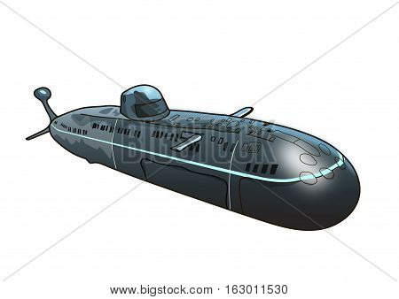 The gray submarine on a white background.
