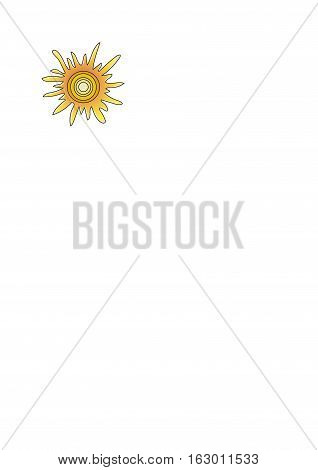 The orange sun with rays on a white background.