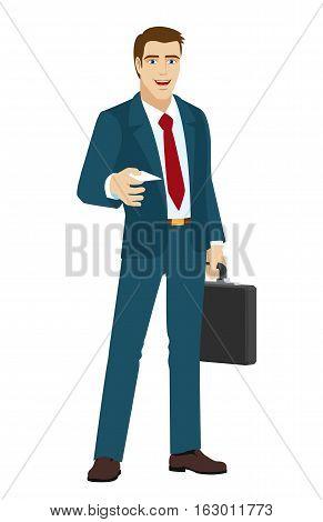 Businessman gives a business card. Businessman holding briefcase. Vector illustration.