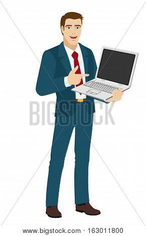 Businessman pointing at laptop. Businessman holding notebook. Vector illustration.