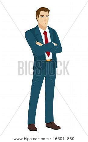 Businessman crossing his arms over his chest. Vector illustration.
