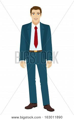 Businessman standing.Full length portrait of businessman in a flat style. Vector illustration.