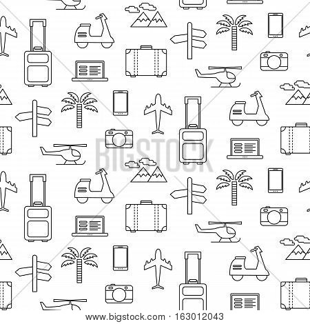 Vector seamless pattern with Travel vacation icons set, isolated on white. Linear art, flat style modern design. Tourism concept. Wallpaper, website background. Design elements. Surface design