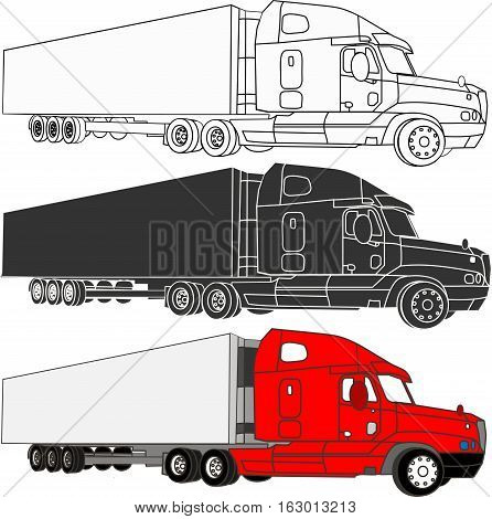 set of vector truck in white, black and red.