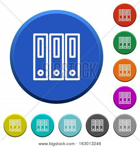 Binders round color beveled buttons with smooth surfaces and flat white icons