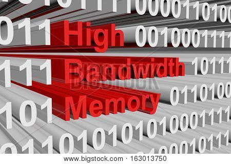 High Bandwidth Memory in the form of binary code, 3D illustration